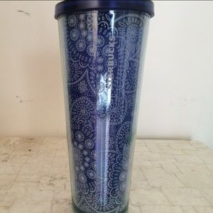 2/$55 Blue White Paisley Starbucks Travel Cup NEW